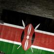 NATIONAL KENYAN FLAG ON WOOD — Stock Photo
