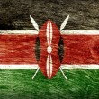 Stock Photo: NATIONAL KENYAN FLAG ON WOOD