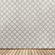 Wall with wallpaper and wood floor — Stock Photo #20033867