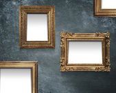 Empty frameworks on a blue wall — Stock Photo