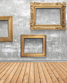 Wall and wood with frameworks — Stock Photo