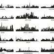 Vector silhouettes of the city skylines - Stockvektor