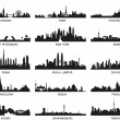 Vector silhouettes of the city skylines - Stock Vector