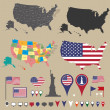 Usa map set and national symbolic — Stock Vector
