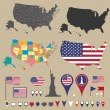 USA kaart set en nationale symbolische — Stockvector