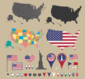 Usa map set and national symbolic — Vector de stock