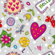 Seamless Floral Pattern with Hearts — Stock Vector #18445613