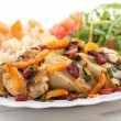Sautéed fried breast chicken with vegetables — Stock Photo #15797099