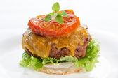 Hamburguesa con queso en un plato aislado en gris — Foto de Stock