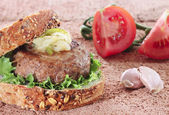 Traditional home made burguer — Stock Photo