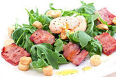 Rocket salad with bacon and poached egg — Stock Photo