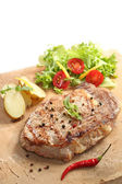Beef cooked on a stone - traditional portuguese cuisine — Stock Photo