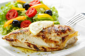 Roasted chicken breast with salad — Stock Photo