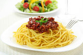 Home made spaghetti with bolognese — Stock Photo