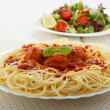 Chicken meatballs with spaghetti — Stock Photo
