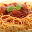 Stock Photo: Chicken meatballs with spaghetti-closeup