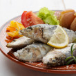 Dish of portuguese sardines — Stock Photo