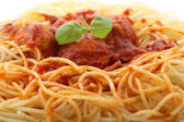 Chicken meatballs with spaghetti-closeup — Stock Photo