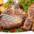 Royalty-Free Stock Photo: Beef chops with potatoes and salad