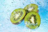 Water splashing on kiwi slices-top view — Stockfoto