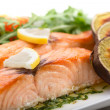 Roasted salmon fillets with sweet potatoes — Stock Photo