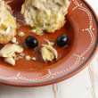 "Stock Photo: Traditional snack ""tiborna"" in some regions of Portugal-olives,"