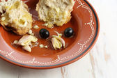 """Traditional snack """"tiborna"""" in some regions of Portugal-olives, — Stock Photo"""
