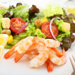 Boiled shrimps with salad — Stock Photo #22200447