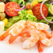 Boiled shrimps with salad — Stock Photo