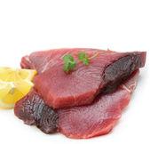 Very fresh tuna steak isolated on white — Stock Photo