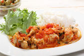 Chiken white meat with tomato sauce on a plate — Stock Photo