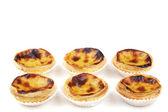 "Traditional portuguese cream cakes ""pasteis de nata"" isolated on — Stock Photo"