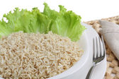 Diet dish of boiled wholefood rice with salad isolated on white — Stock Photo