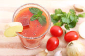 Cold spicy vegetable juice — Stock Photo