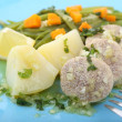 Stock Photo: Boiled and seasoned fish eggs with vegetables