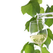 Vino blanco verter en un vaso aislado en blanco — Foto de Stock