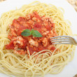 Stock Photo: Diet spaghetti bolognese with white meat - healthy eating concep