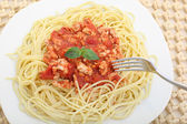 Diet spaghetti bolognese with white meat - healthy eating concep — Stock Photo