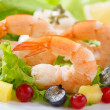 Dish of fresh cooked shrimps with salad — Stock Photo #33191757