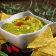 Stock Photo: Guacamole with tortillas dish