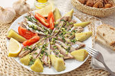 Portuguese traditional recipe - scaled and boiled horse-mackerel — Stock Photo