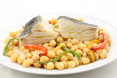 Traditional christmas portuguese dish boiled cod fish with chickpeas — Stock Photo