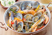 Traditional portuguese seafood dish - cataplana- — Stock Photo