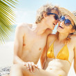 Couple on the beach, bali — Foto Stock