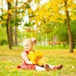Little girl in autumn park (soft focus, focus on eyes of baby) — Stok fotoğraf #19922049