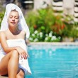 Beautiful woman in spa-resort, Bali - Foto Stock