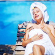 Beautiful woman in spa-resort, Bali — Stock Photo