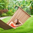 Young beautiful woman in hammock, Bali, Indonesia — Foto Stock
