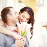 Wedding couple (soft focus, focus on eyes of bride) — Stock Photo