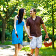 Happy couple with dog — Stock Photo #19928077